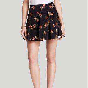 BOHO Free People Dark Brown Floral Corduroy Skirt